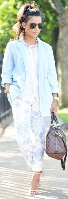 Michael Kors ~ Light Blue Women's Denim Oversize Blazer Natural beauty look