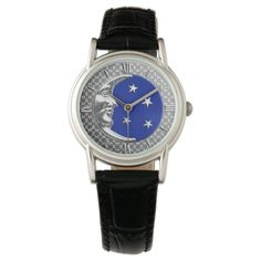 Art Deco Moon and stars - Cobalt Blue and Silver Watch   Zazzle.com