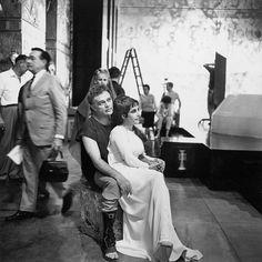 Elizabeth Taylor and Richard Burton behind the scenes of Cleopatra, 1963
