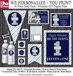 Mr. ONEderful Birthday Invitation and Party by PuggyPrints on Etsy