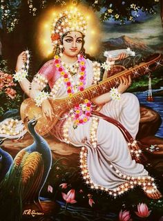 ♥♡♥♡♥♡♥ Saraswati Mata, Saraswati Goddess, Lord Shiva Hd Images, Durga Images, Hindu Deities, Hinduism, Radha Krishna Pictures, Krishna Images, Mother Goddess