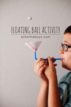 Ball Activity floating ball activity - fun science project for bored kids!floating ball activity - fun science project for bored kids! Kid Science, Science Crafts For Kids, Science Week, Crafts For Boys, Science Experiments Kids, Simple Crafts For Kids, Gravity Experiments, Stem Projects For Kids, Science Toys