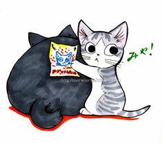 LOL, go Chi!  Made bySuperMisurino ... Chii's Sweet Home, Chi, Chi's Sweet Home, Chii, cat, Noiraud, Blackie