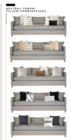 Neutral Throw Pillow Combinations for White and Gray Sofas - Room for Tuesday Our love for neutral throw pillows runs deep! See our favorite combinations for white and gray sofas in this round up on Room for Tuesday. Design Living Room, Living Room Grey, Home Living Room, Living Room Furniture, Wooden Furniture, Neutral Living Rooms, Neutral Couch, Furniture Stores, Furniture Making