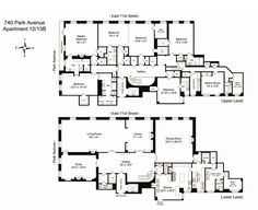 740 Park Avenue, Old New York apartment floor plan.  Nice gallery space
