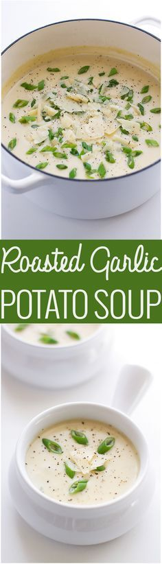 Roasted Garlic Potato Soup - This creamy luxurious soup is loaded with so much flavor! #potatosoup #garlicsoup #roastedgarlic | http://Littlespicejar.com