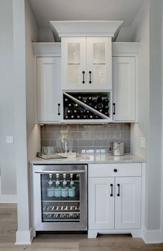 General idea including wine fridge, and needs a small sink for butler's pantry i. General idea including wine fridge, and needs a small sink for butler's pantry in the walk-in pantry after moving the wall back, Kitchen Bar, Kitchen Remodel, Kitchen Decor, Modern Kitchen, Home Remodeling, Bars For Home, New Kitchen, Home Kitchens, Kitchen Renovation