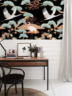 Chinoserie Crane removable wallpaper Birds and Trees Self Adhesive Wallpaper, Wall Wallpaper, Pattern Wallpaper, Kitchen Wallpaper, Wall Murals, Wall Art, Tree Patterns, Trendy Tree, State Art
