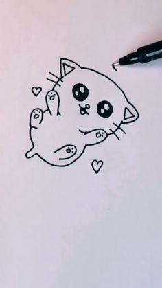 Easy Doodles Drawings, Cute Easy Drawings, Mini Drawings, Cute Little Drawings, Cute Cartoon Drawings, Art Drawings For Kids, Art Drawings Sketches Simple, Cute Animal Drawings, Panda Drawing Easy