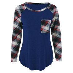Single Pocket Plaid Sleeve T-Shirt (43 AED) ❤ liked on Polyvore featuring tops, t-shirts, blue top, sleeve t shirt, blue tee, blue t shirt and tartan t shirt