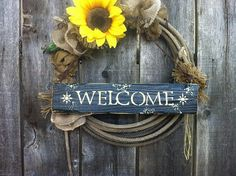 Sunflower Rope Wreath with Barnwood Welcome Sign by GoneRopinDecor, $49.99