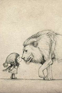 Aww look it's little Lucy and aslan!
