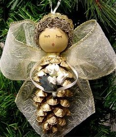 Christmas craft from pinecones photo
