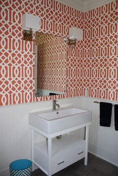 simple powder bath with wow wall paper