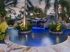 Awesome Pool~love the water slide in the back