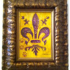 """Fleur de Lis"" Acrylic & Plaster - Hand crafted 5x7"" acrylic painted plaster relief in purple and gold with tiger paw prints.  $50"
