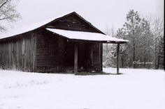 Rustic Barn old store black and white snow 8x10 by Woodzart, $28.00
