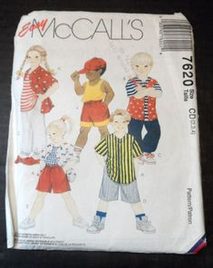 McCalls Easy Sewing Pattern #7620 Unisex Childrens Clothing For ages 2 - 6  Patterns for Boys & Girls Shirt, Pull on Pants, Pull on Shorts in 2 lengths, Tank Top and hat.  For Body Measurements as listed:  Breast/Chest: 21 - 25 Waist: 20 - 22 Hip: 24- 26 Back waist length: 8.5 - 10.5  Patterns are UNCUT....packaging may have signs of shelf wear.  Coming to you from a smoke free environment.