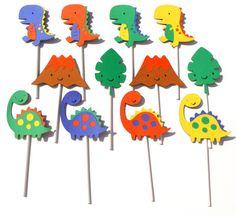 12 Dinosaur Party Themed Cupcake Toppers For A by ScrapsToRemember, $12.00