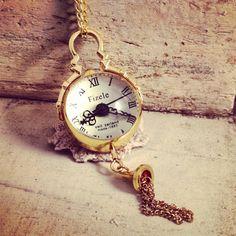Vintage Style Gear Bubble Pocket Watch Necklace