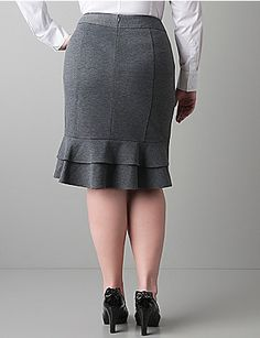 Ponte knit ruffle back skirt by Lane Bryant Grey Fashion, Fashion Outfits, Fashion Design, Fashion News, Fashion Fashion, Womens Fashion, Skirt Outfits, Dress Skirt, Ruffle Skirt