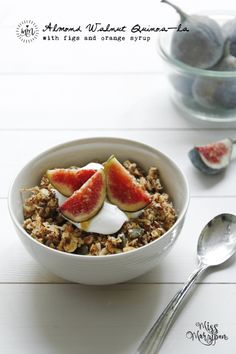almond walnut quinoa with figs and orange syrup