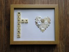 "Hand Crafted 10"" x 8"" Scrabble Art Button Picture Wedding Day"