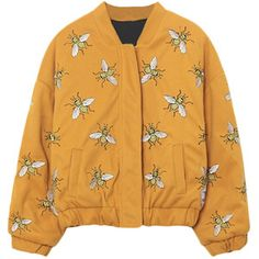 Bees Embroidery Stand-collar Loose Woolen Jacket