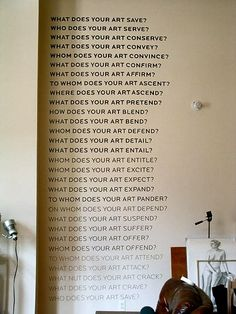 What does your art do? Idea for reception or waiting area wall