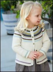 A perfect little everyday cardi with a fun striped yoke. This cardigan is knit from the bottom up in one piece with minimal seaming. This sweater is a great way to use up yarn scraps and the fun bright colors are sure to match and brighten up any outfit!  Sizes: 3 months [6mos, 9mos, 12mos, 2, 3, 4, 5, 6] Finished chest measurements: 17.75 (18.75, 19.75, 21.75, 22.75) [24.75, 25.75, 26.75, 27.75] inches  Materials: [MC] Debbie Bliss Baby Cashmerino color: Off White #101; 2 [2, 3, 3, 4, 4…