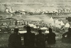 """Picture of an encampment of the Army of the Potomac at Cumberland Landing, VA. """"Bivouac on a Mountainside"""" from Lanier, Robert S., ed. The Photographic History of the Civil War in Ten Volumes, Volume 9. New York: The Review of Review Co., 1911. Missouri History Museum"""