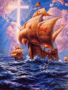Browse all of the Boats photos, GIFs and videos. Find just what you're looking for on Photobucket Beautiful Fantasy Art, Beautiful Gif, Jesus Helguera, Wave Boat, Beau Gif, Mexican Artwork, Old Sailing Ships, Amazing Gifs, Gif Animé