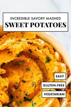 Savory Mashed Sweet Potatoes – Cookie and Kate These INCREDIBLE mashed sweet potatoes are mixed with herbs and sour cream, not marshmallows and brown sugar! This savory mashed sweet potatoes recipe will be a big hit at your holiday dinner. Vegetarian Recipes, Cooking Recipes, Healthy Recipes, Yam Recipes, Healthy Options, Recipies, Thanksgiving Recipes, Holiday Recipes, Recipes Dinner