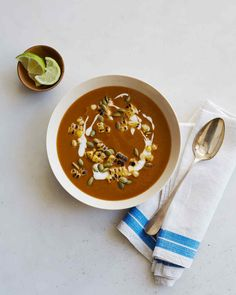 The toasted ancho chiles in this fall soup recipe give it a mole-like smoky flavor. You can substitute any type of winter squash for this recipe (calabaza, Hubbard, or sugar pumpkin are the best alternatives); choose a squash that feels heavy for its size and is free of soft spots.
