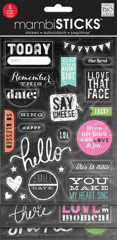 What's better than a sheet of chalkboard stickers? 5 sheets of chalkboard stickers! This value, flip-pack features paper stickers with glitter treatments. Popular sayings, phrases and icons make it so
