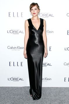 10.19.15  Dakota Johnson in Calvin Klein Collection S16 (Look 1) at Elle's Women in Hollywood