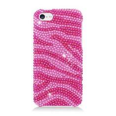MetroPhonesco FOR Iphone Lite/5C Full CS Diamond Protector COVER Hot Pink Zebra: Cell Phones Accessories