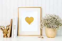 Amore Love heart gold foil print/ Valentines Day by TradeandUnion