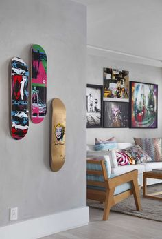 snowboard display. (This would be great for all the skateboards around the apartment.)