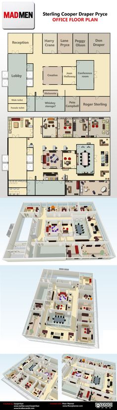 36 Super Ideas Home Office Design Man Mad Men Home Design Plans, Home Office Design, Plan Design, Office Floor Plan, House Floor Plans, Bureau Design, Mad Men, Addams Family House, Co Working