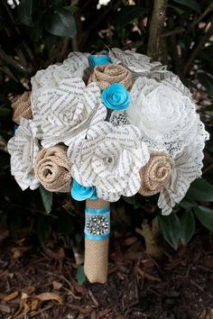 Items similar to Burlap, lace, and book page bridal bouquet on Etsy