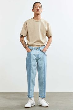 BDG Colorblocked Straight Cropped Jean - Urban Outfitters