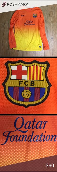 FC Barcelona Lionel Messi Kit Nike, Size Large, Orange/Yellow mesh, good condition (very small snag on left elbow, can barely see) Nike Shirts Tees - Long Sleeve