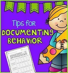Documenting student behavior tips plus #FREE form.