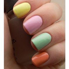 rainbow pastel manicure. I'm thinking about jazzing these up a bit to make them look like Easter eggs. Perfect for spring