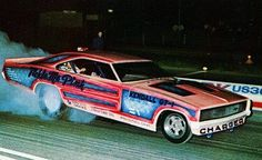 "PA based Al Graeber's ""Tickle Me Pink"" Charger ran mainly in the NE from 68-73. Description from 70sfunnycars.com. I searched for this on bing.com/images"