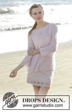 Emmelie jumper in English rib with round yoke by DROPS Design Free Knitting Pattern