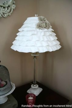 a cute lamp made from ruffled fabric - I am seeing this in pink ruffles for a girly room Ruffle Lamp Shades, Girly, Home And Deco, Little Girl Rooms, Crafty Craft, Crafting, Lampshades, Diy Lampshade, Crochet Lampshade