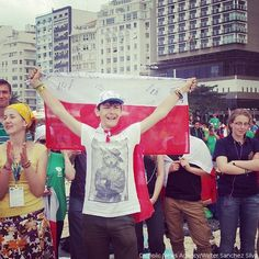 #tbt A #Polish pilgrim celebrates at #WYD2013 in #Rio when the announcement was made that #WYD2016 would take place in #Poland. #Catholic #JP2 #prayforus