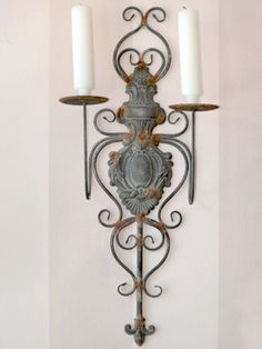 Frenchstylewallsconces distressed french grey metal wall frenchstylewallsconces details about shabby cottage chic 2 arm wall aloadofball Choice Image